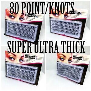 80 Stand False Individual Eyelashes Super Thick Flare Cluster Corner Volume UK