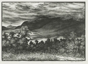 A fine wood engraving by Leo Meissner, 1938, Mountain Tops, Dusky Clouds