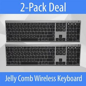 2-Pack Jelly Comb KS15F Bluetooth Wireless Keyboard (Gray)