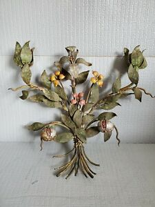 Antique Handpainted Wallhang Metal Flower Bouquet Candle Holder #2