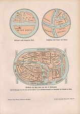 1903 HISTÓRICO ALEMÁN ESTAMPADO ~ MAPA MUNDIAL DE SAN SERVER DE LA 11 SIGLO