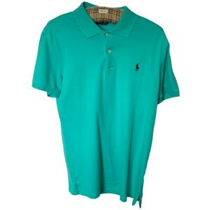 Ralph Lauren Polo Shirt Men's Size L Large Turquoise Light Blue Collared t-shirt