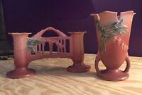 Roseville Pottery Bleeding Heart Pink Vase 964-6 And Double Bud Vase 140-4 1/2.