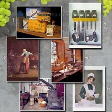 Old cooking baking spices kitchen utensils pots culinary color photo prints lot