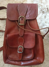 Womens Small Conker Brown Leather Rucksack Backpack Handbag