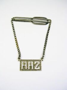 STERLING SILVER TIE CHAIN SWANK TIE CLIP INITIAL AAZ GUARD MARCASITE STONES