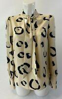 Ladies new ex River Island cream print  blouse size  6 8 10 12 14 16
