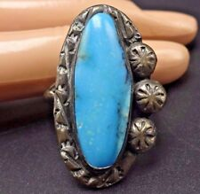 Vintage TONY AGUILAR Sterling Silver & TURQUOISE RING, size 10.25, SANTO DOMINGO