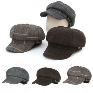 Ladies Womens Mens 8 Panel Cotton Blend Baker Boy News Boy Peaked Flat Cap Hat