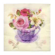 20 Pc Multicolor Flower Napkin Basket Print Paper Table Wedding Party Decoration