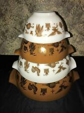 Vintage PYREX Early American nesting mixing bowls Cinderella bronze white brown