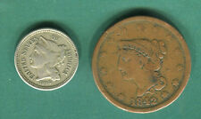 1866 USA THREE CENTS AND 1842 ONE CENT.
