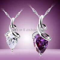Women Charm Drip Crystal Zircon Chain Pendant Necklace Jewelry Love Silver Chain