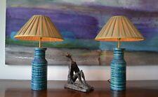 A Pair of Mid C Italian Bitossi Rimini Blu Londi Raymor Pottery Ceramic Lamps