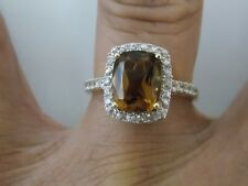 Honey Brown Citrine Center with Sides White Sapphire Halo Ring o 14KYG by Allura