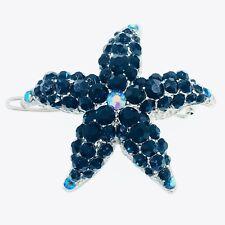 Hair Clip use Swarovski Crystal Hairpin Starfish Seastar Mermaid Nave Blue