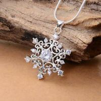 1 stk Frauen Schöne Cubic Snowflake Schnee Halskette HOT Strass Kette Colli R5V0