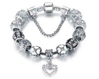 18K White Gold Plated Crystal Heart Charm Bracelet Made with Swarovski Elements