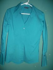 (2) New York Company fitted teal/striped blouses      Size M (Medium)