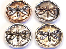 4 - 2 HOLE SLIDER BEADS TRI COLOR HAMMERED LOOK DRAGONFLY SILVER BRASS & COPPER