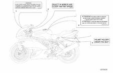 DUCATI Labels- Mirror Warning and Helmet Holder  #43311