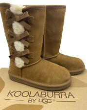 Koolaburra by Ugg Girls Boots Youth Size 2 Victoria Tall Chestnut Suede Bow