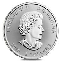 SILVER 2016 CANADA MAPLE LEAF 5 DOLLAR SILVER .9999 1 OZ COIN