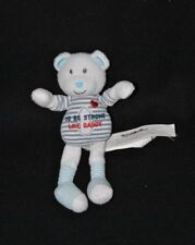 Peluche doudou ours blanc TAO Tape à l'oeil To be strong Like daddy 17 cm TTBE