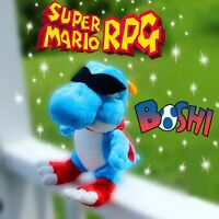 Boshi Plush Super Mario RPG Plush Blue  Yoshi CUSTOM Retro Nintendo Toy LIMITED