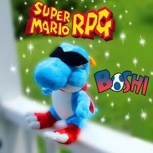 Boshi Plush Super Mario RPG Plush Blue  Yoshi CUSTOM Retro Nintendo Toy LIMITED