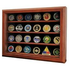 Challenge Coin Wall  Display Case with Glass Black Background
