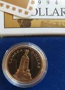 1994 Canada Dollar PROOF Coin - (National War Memorial) C/W Box & Certificate...