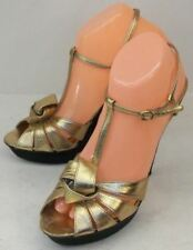 Coach Womens Shoes 9B Metallic Gold Leather Prom Party Dress Heels Pin-up