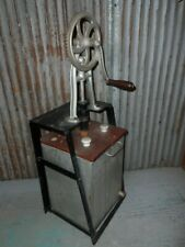 ANTIQUE VINTAGE METAL CHURN 9.5 X 10 AND 30 TALL WOODEN PADDLE