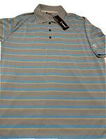 Adidas Climacool Men's Polo Golf Shirt Size XL Short Sleeve Gray Striped NWT