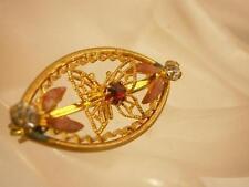 Petite & Very Dainty Vintage 50's Rhinestone Enamel Butterfly Brooch   789jl