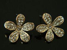 Gold and Full of Rhinestones Flower Stud Earrings for Women Girl Jewellery E76