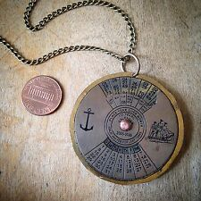 HOT SALE - Handmade SLIM 50 Year Perpetual Calendar Necklace Antique Brass