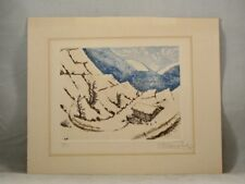 ASIAN WINTER LANDSCAPE ART PRINT 1975 Signed Limited Edition Untitled & Unframed