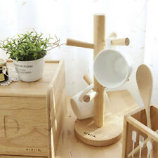 Mug Tree Stand Rack Cups Holder Tableware Party Tea Cup Wood Natural Stand Decor