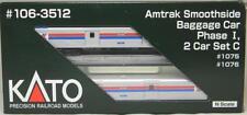Kato N Scale 106-3512 Amtrak Smoothside Baggage Car Phase I / 2-Car Set C NIB