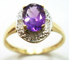 SYJEWELLERY 9CT YELLOW GOLD OVAL NATURAL AMETHYST & DIAMOND     R967