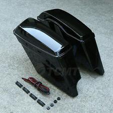 "5"" Vivid Black Stretched Extended Hard Saddlebags For 14-18 Harley Touring Model"