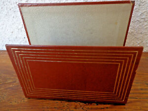 Vintage Faux Leather Letter / Bill / Mail HOLDER MCM Retro Brown Gold 4 x 5 x  2