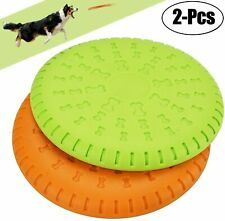 2 Pcs Dog Flying Disc Rubber Catcher Toy 9 Inch Large Dog Toys