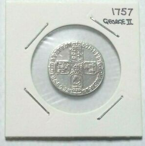 1757 - SIXPENCE George II - 0.925 silver coin
