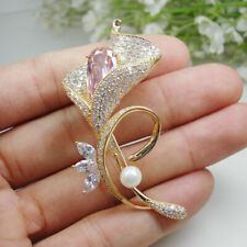 Luxurious Pink Orchid Zircon Crystal Woman Freshwater Pearls Brooch Pin