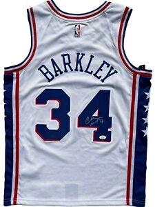 CHARLES BARKLEY SIGNED PHILADELPHIA 76ERS AUTHENTIC BASKETBALL JERSEY JSA !
