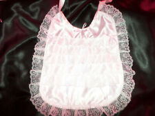 PINK SATIN   ADULT BABY SISSY BIB FRILLY LACE TRIMMED SATIN TIES PLASTIC BACKED