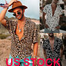 US Men's Leopard Print Short Sleeve Buttons Down Shirts Summer Loose Tops Blouse